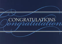 Congratulations! Blue and White Greeting Cards
